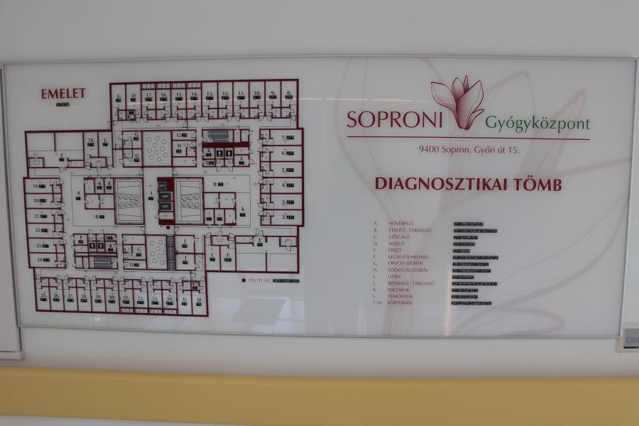 Épület térkép braille feliratokkal