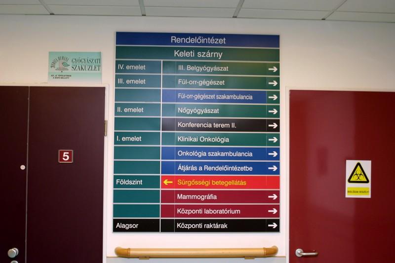 Kórházi információs tábla