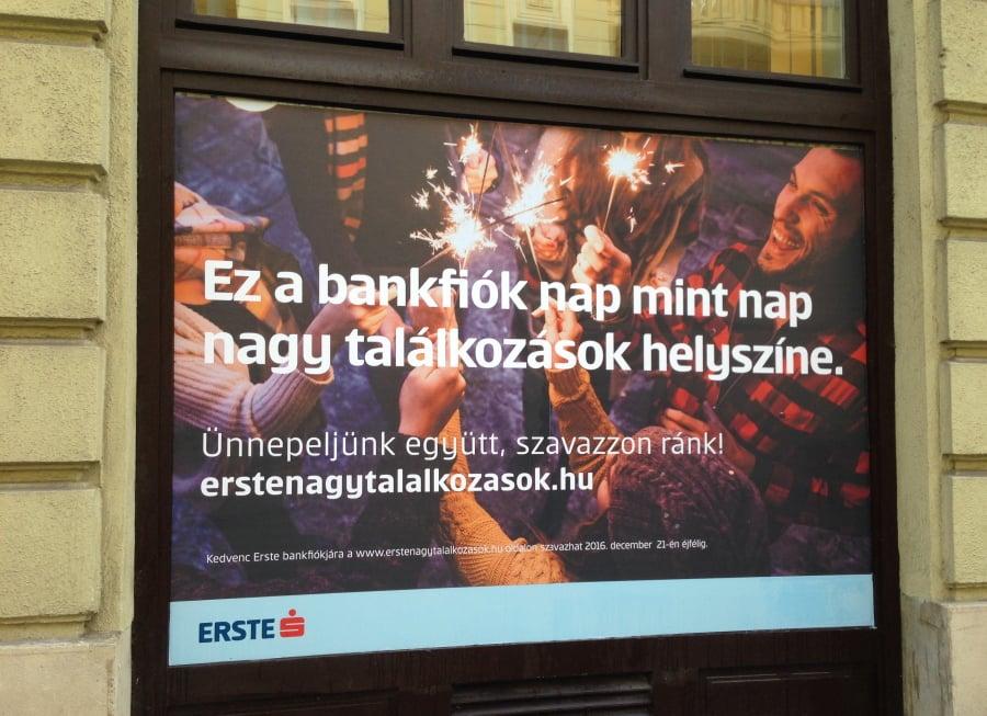 Karácsonyi kirakat fólia - Erste Bank