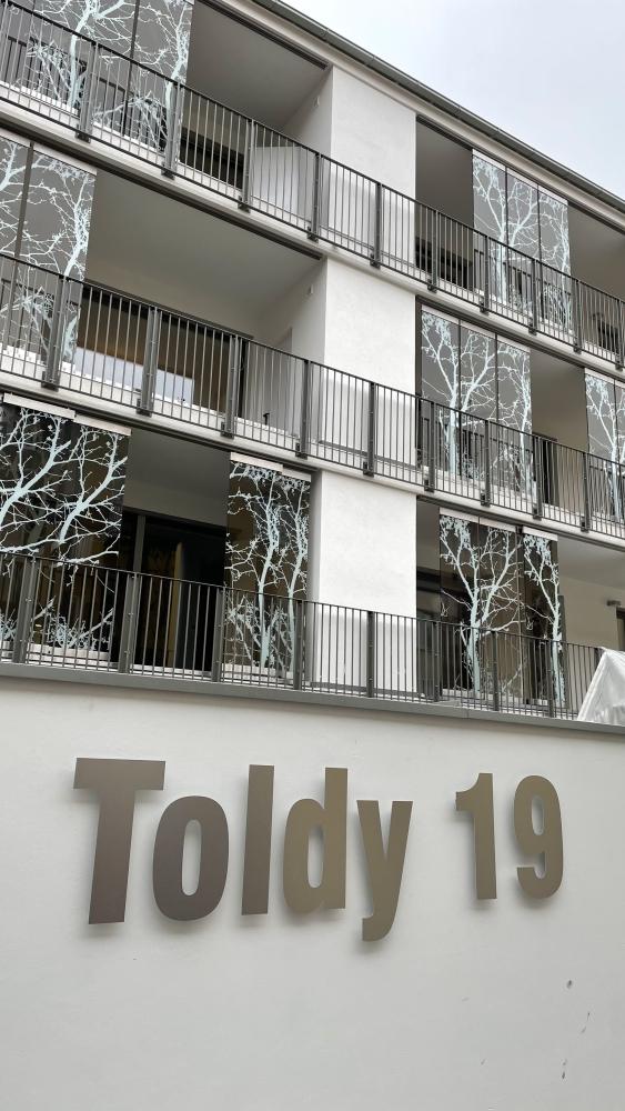 Utca és házszám felirat: szálhúzott alumínium betűk távtartással szerelve