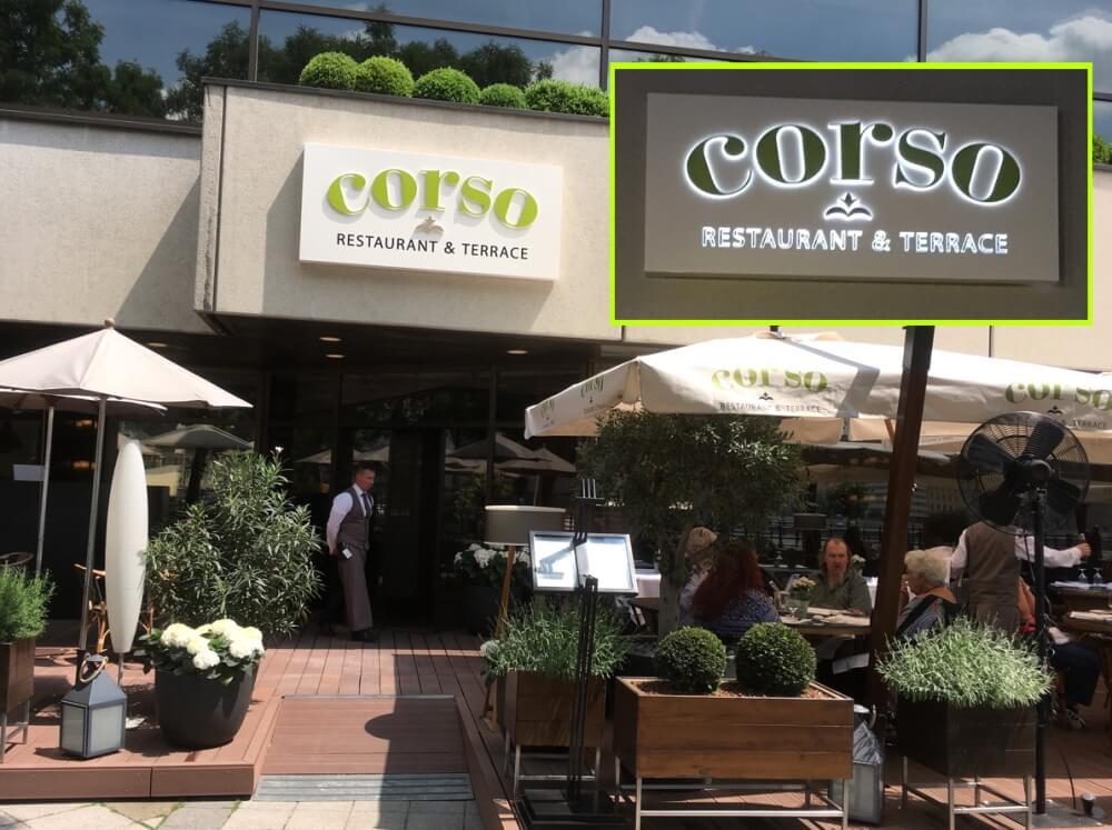 Világító intarziás betűk - Corso Étterem